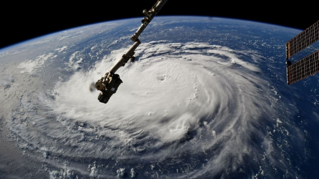 Hurricane Florence has been captured in dramatic video as it threatens North Carolina.