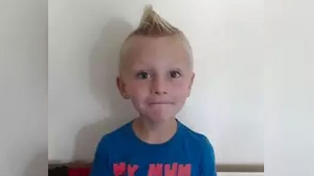 Charlie Chafer, 6, with his long-awaited mohawk haircut