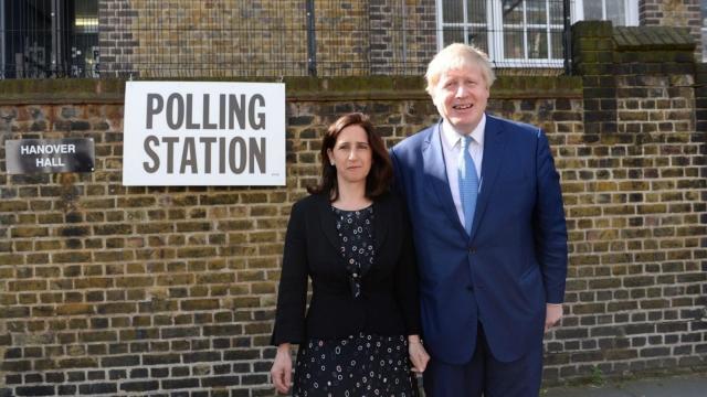 Boris Johnson and Marina Wheeler outside a polling station (PA wire)