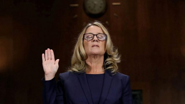 Christine Blasey Ford is sworn in before testifying the Senate Judiciary Committee (Reuters)