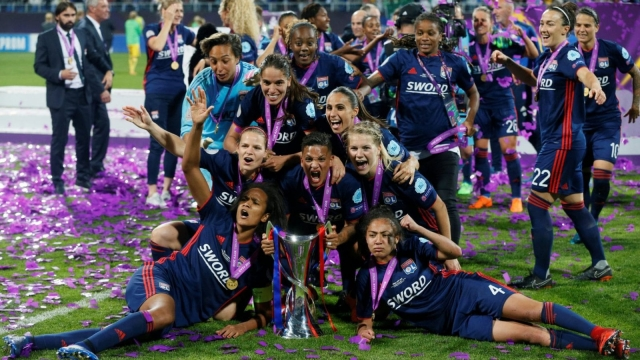 Lucy Bronze (right), who plays for defending champions Lyon, is one of a number of British players featuring in this season's Women's Champions League (Reuters)