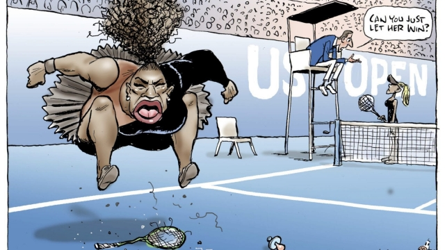Mark Knight's cartoon of Serena Williams published by the Herald Sun (Mark Knight/Heral Sun-News Corp. via AP)