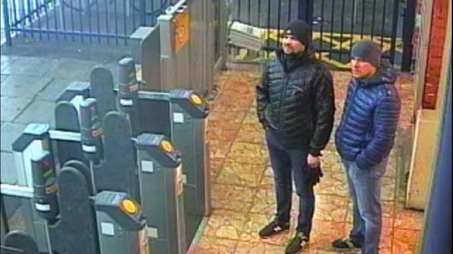 Ruslan Boshirov and Alexander Petrov at Salisbury train station at 4.11pm on 3 March 2018. (Photo: Metropolitan Police/PA)