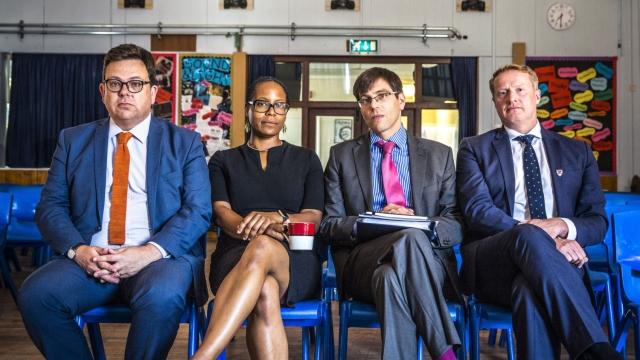 BBC School stars (L-R) Headteacher at Mangotsfield, Headteacher at Castle, CEO of CSET, Headteacher at Marlwood David Spence, Angie Browne, William Roberts, James Pope - (C) Label1