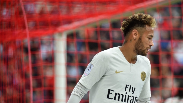 Neymar in Ligue 1 action for PSG against Rennes back in September