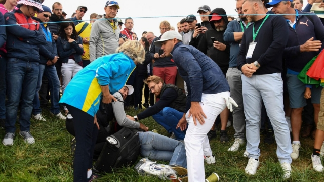 Article thumbnail: Corine Remande was hit by a wayward tee shot by three-time major winner Brooks Koepka on the par-four sixth hole (Getty Images)