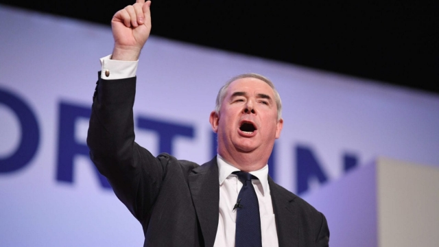 BIRMINGHAM, ENGLAND - OCTOBER 03: Attorney General Geoffrey Cox speaks during the final day of the Conservative Party Conference on October 3, 2018 in Birmingham, England. This year the conference is being held against a backdrop of party division on Brexit. The Prime Minister is pushing ahead with her unpopular Chequers Deal which promises a softer Brexit creating a free trade area with the EU enabling frictionless access for goods and avoids the need for a hard border between Northern Ireland and Ireland. This plan has divided the Conservative party. (Photo by Jeff J Mitchell/Getty Images)