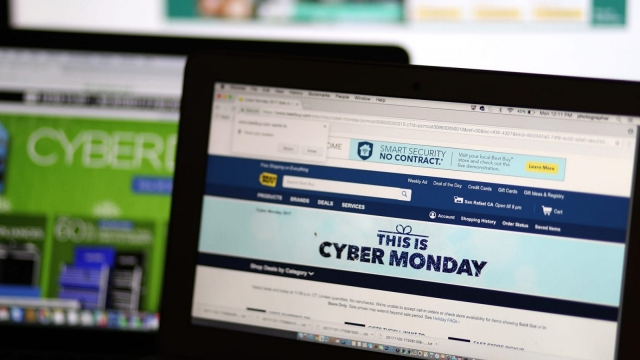 A Cyber Monday sale is displayed on laptop on 27 November 2017 (Getty Images)