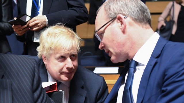 Article thumbnail: UK's Foreign Secretary Boris Johnson (L) and Ireland's Minister for Foreign Affairs and Trade Simon Coveney attend an EU foreign affairs council in Luxembourg on April 16, 2018. / AFP PHOTO / Emmanuel DUNAND (Photo credit should read EMMANUEL DUNAND/AFP/Getty Images)