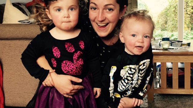 Sally Bunkham with daughters Daisy (left) and Ruby (right), who were born a year and 12 days apart