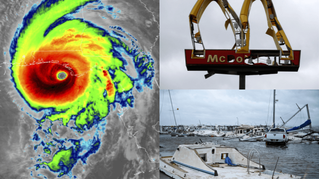 A map of Hurricane Florence as it struck Florida's Panhandle; a damaged McDonald's sign in Panama City; destroyed boats in nearby Mexico Beach (Photo: Reuters/Getty)