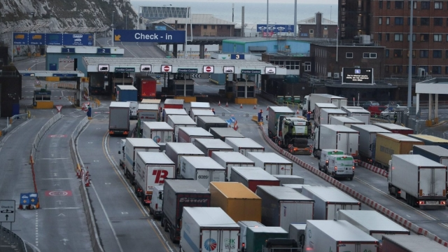 Lorries queue up at the port of Dover. Post-Brexit transport is an issue for medicine suppliers (Photo: Getty)