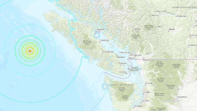 The 6.8 magnitude earthquake off the coast of British Columbia, Canada (Photo: United States Geological Survey)