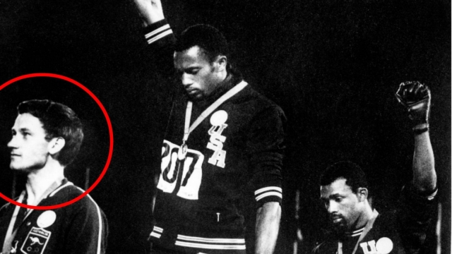 Peter Norman won 200m silver at the 1968 Olympic Games in Mexico City with his run of 20.06 seconds - an Australian record to this day (Getty Images)