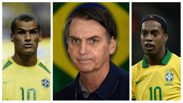 Flying down the right wing: Rivaldo (left) and Ronaldinho (right) have both been vocal in their support of Jair Bolsonaro (Getty Images/AP)