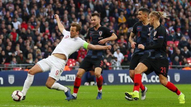 Harry Kane scores England's winning goal against Croatia