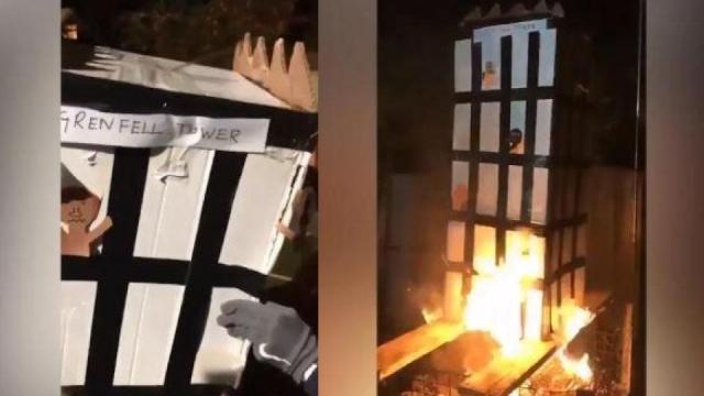 Grenfell effigy burning video