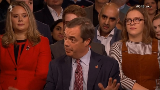 Nigel Farage said support had fallen for Brexit because it was not being conducted properly. Image: Channel 4