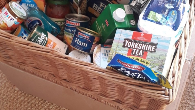 Faith Archer's #FoodBankAdvent box from 2017. She collected an item for donation for 25 days.