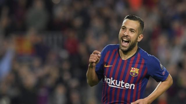 Article thumbnail: Jordi Alba celebrates scoring against Inter at Camp Nou