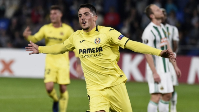Article thumbnail: Villarreal star Pablo Fornals celebrates finding the back of the net in the Europa League