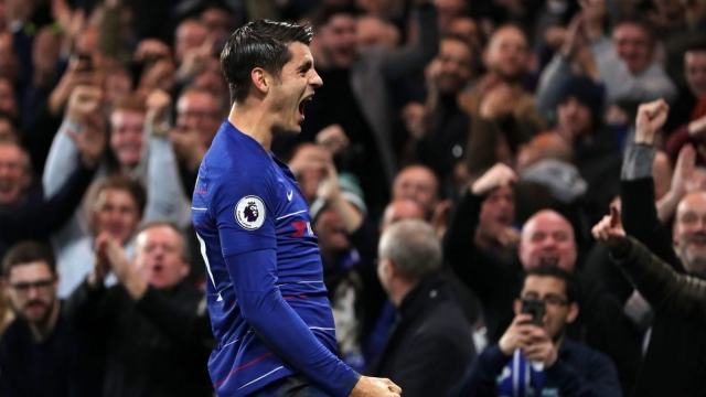 Morata celebrates his first goal of the afternoon during Chelsea's win over Crystal Palace