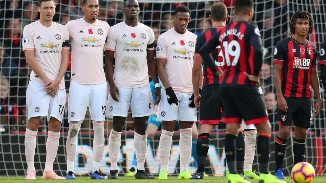A poppyless Nemanja Matic lines up with teammates Chris Smalling, Paul Pogba and Anthony Martial during the Premier League match at Bournemouth (Getty Images)
