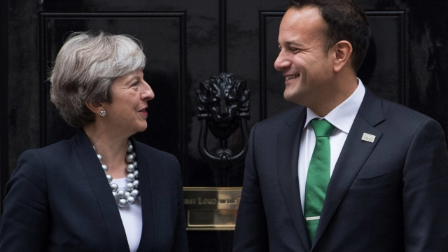 Prime Minister Theresa May greets Ireland's Taoiseach Leo Varadkar in Downing Street (Photo: Getty Images)