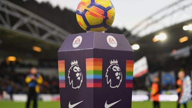 The Stonewall Rainbow Laces Campaign plinth during the Premier League match between Huddersfield Town and Manchester City on 26 November 2017 (Getty Images)