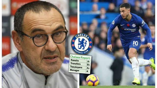 Maurizio Sarri and Eden Hazard have led Chelsea's revival as a title challenger in the Premier League (PA)