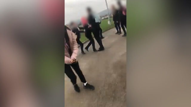The girl was attacked at Almondbury Community School in Huddersfield (Photo from video)