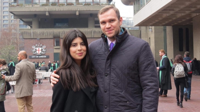 British academic Matthew Hedges with his wife Daniela Tejada. Mr Hedges was last week jailed for life in the United Arab Emirates on a spying charge (PA)