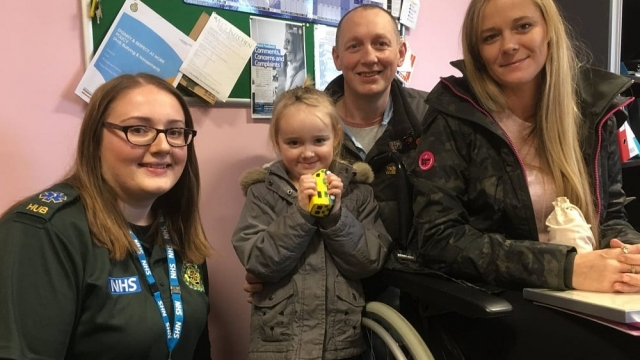 From left, ambulance call handler Jess Hodkinson, Kaitlyn Wright and parents Simon and Charlene (Photo: South Western Ambulance Service NHS Trust/PA)