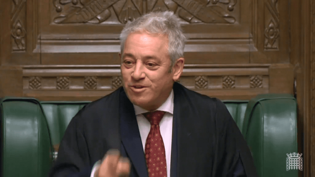 John Bercow was involved in a stand-off with House leader Andrea Leadsom. (Image: Parliament TV)