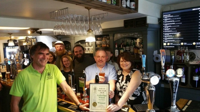 Staff and customers at the Catherine Wheel in Newbury