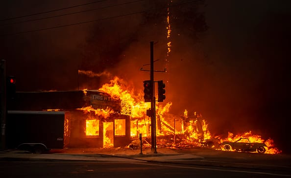 A store burns as fire tears through Paradise, California (JOSH EDELSON/AFP/Getty Images)