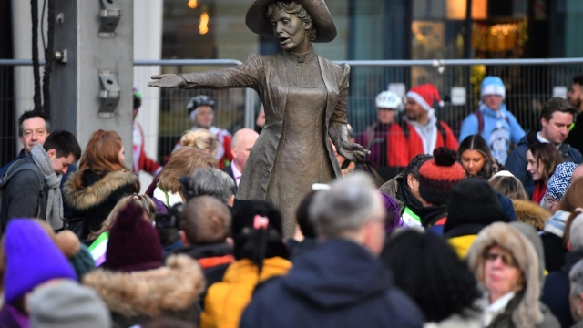 Article thumbnail: A statue of the suffragette Emmeline Pankhurst, entitled 'Our Emmeline', is unveiled in St Peter's Square, Manchester. (Photo by Anthony Devlin/Getty Images)