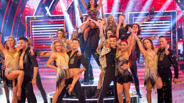 From left to right Faye Tozer, Giovanni Pernice, Ashley Roberts, Pasha Kovalev, Joe Sugg, Dianne Buswell, Stacey Dooley and Kevin Clifton taking part in the Strictly Come Dancing live final on BBC One (Photo: BBC)