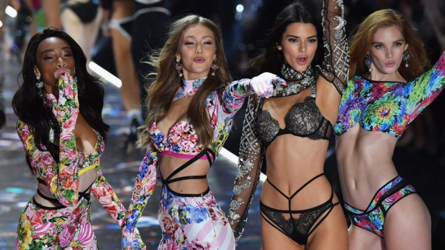 Models Winnie Harlow, Gigi Hadid, Kendall Jenner, and Alexina Graham walk the runway at the 2018 Victoria's Secret Fashion Show on November 8, 2018. (Photo: Getty)