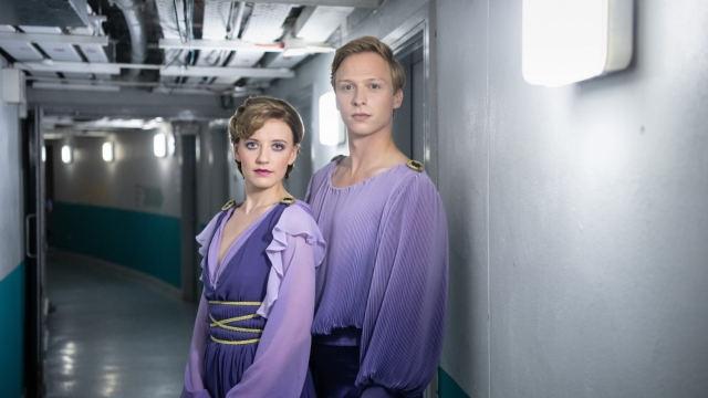 POPPY LEE FRIAR as Jayne Torvill and WILL TUDOR as Christopher Dean in ITV's Xmas drama Torvill & Dean (photo: ITV/DSP)