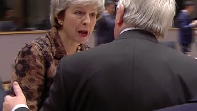 Prime Minister Theresa May apparently berating European Commission president Jean-Claude Juncker (Photo: ec.europa.eu/PA Wire)