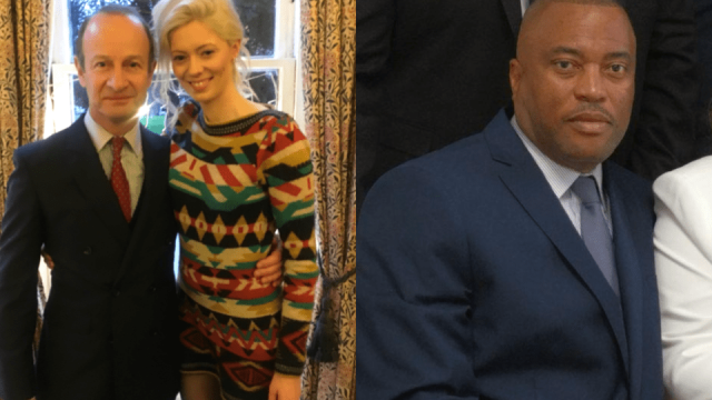 Article thumbnail: Henry Bolton pictured with girlfriend Jo Marney – who caused controversy with her offensive comments about Meghan Markle (Photo: Twitter: @Jo_Marney) – and right, Trevor Rene, a Caribbean immigrant he has offered to help (Photo: Trevor Rene)