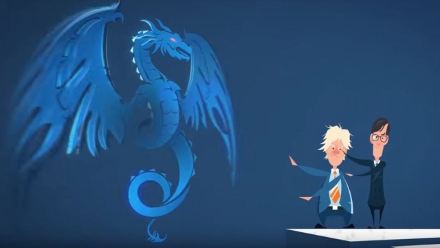 In Fry's animated film, Boris Johnson and Jacob Rees-Mogg create a mythical EU dragon (Image: YouTube/Stephen Fry)