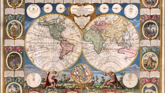 'Carte Generale de la Terre ou Mappe Monde' (1785), one of the most decorative maps of the 18th century, by Jean Baptiste Louis Cloue, included in 'The Golden Atlas' (Photo: Barry Lawrence Ruderman Antique Maps)