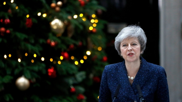 Prime Minister Theresa May addresses the media outside 10 Downing Street after it was announced that the Conservative Party will hold a vote of no confidence in her leadership (Reuters)