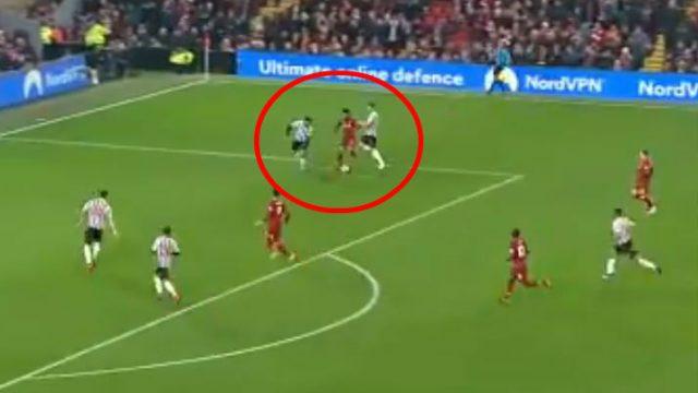 Mohamed Salah goes down under pressure from Newcastle's Paul Dummett (Sky Sports)
