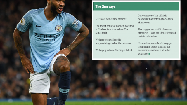 The tabloid has published a strongly worded editorial on the abuse directed at Raheem Sterling (Getty Images/The Sun)