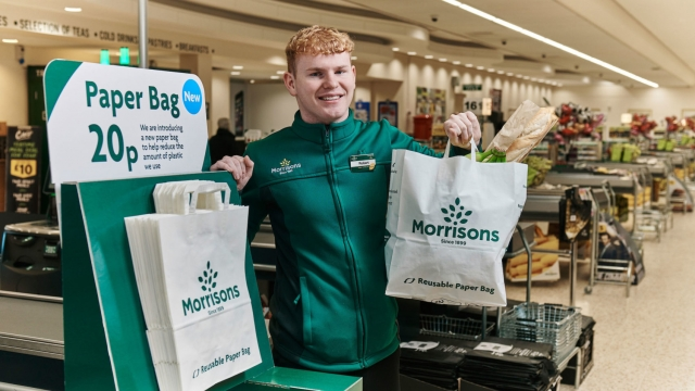 US-style paper grocery bags, priced at 20p (Mikael Buck/Morrisons /PA Wire)
