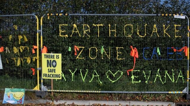 Protest slogans on fencing around Cuadrilla's Preston Road fracking site near Blackpool, Lancashire (Photo: Hannah McKay/Reuters)
