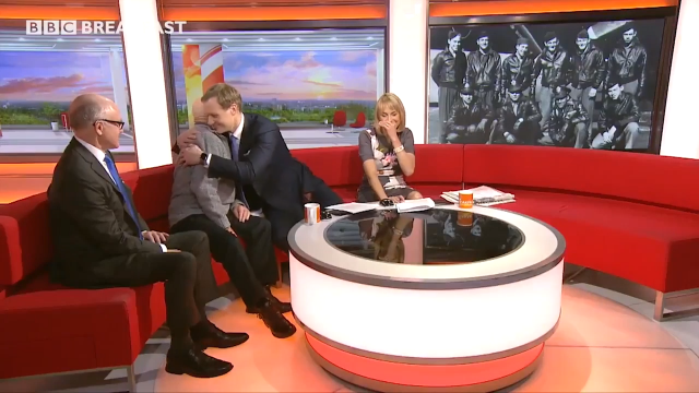 Tony Foulds and Dan Walker embrace on BBC Breakfast. (Image: BBC)